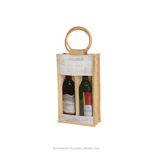 can be Customized Jute wine Tote Bag , 3 Bottles Jute wine Bag with Transparent