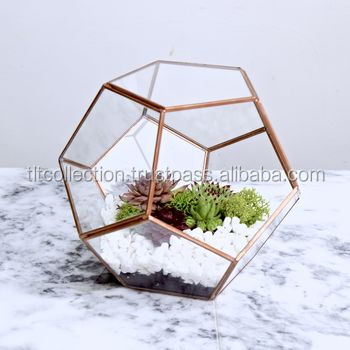 stained cube high quality hot sale colored vases geometric glass terrarium metal