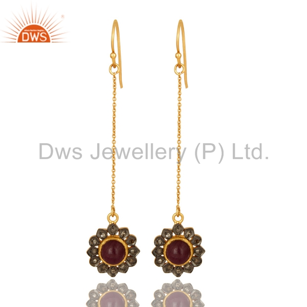 Natural Ruby Gemstone Pave Diamond Earring Yellow Gold Plated Silver Chain Earring Jewelry Supplier