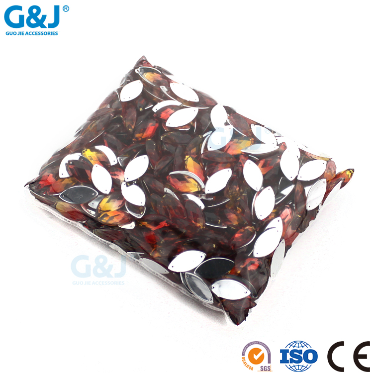 guojie brand new design wholesale beautiful color half oval acrylic stone