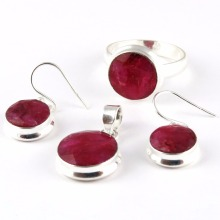 Beautiful Solid !! Red Ruby 925 Sterling Silver Set, Unique Silver Jewelry, Handcrafted Silver Jewelry