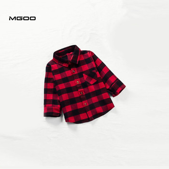 MGOO CustomToddler Boys Red Plaid shirt OEM services manufacturer curved hem flannel button down shirt