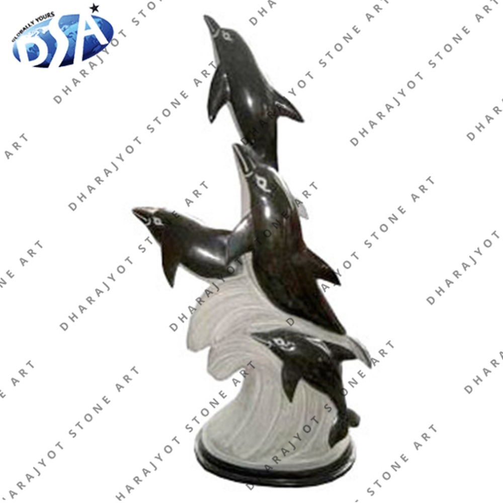 beautiful black marble polished large dolphin statue with garden decor