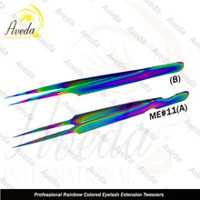 Best Quality Japanese Stainless Steel Rainbow Multi-Color Plasma Coated Round Head Shape Russian Tweezers