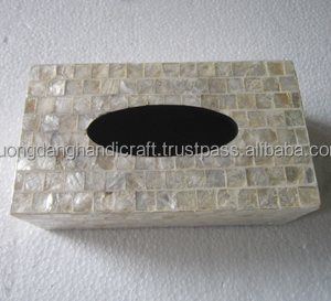 Tissue box with mother of pearl in laid from Vietnam