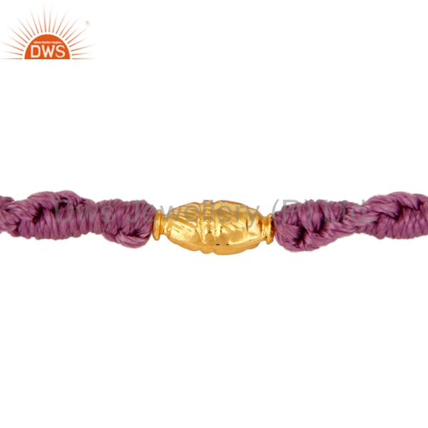 Yellow Solid Gold Beads Bracelet Handmade Womens Macrame Bracelet Jewelry Manufacturer