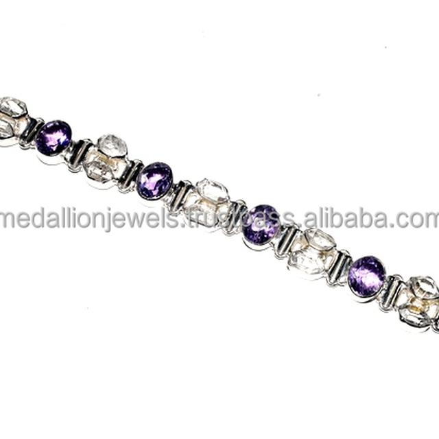 Charming Amethyst_Herkimer Diamond Gemstone 925Sterling Silver Bracelet, Fashion Jewelry India, Wholesale Bracelet Silver Jewelr
