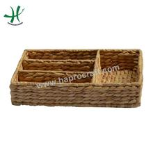 Serving tray with 4 compartments, wicker storage basket trays