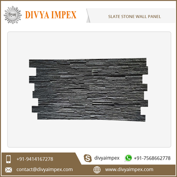 Rough Slate Stacked Stone Culture Stone Wall Panels in Black Color