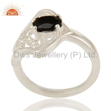GIrls Designer 925 Sterling Silver Party Ring Natural Black Onyx Gemstone Fashion Ring Jewelry