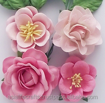 PAPER FLOWERS Baby pink rose paper flowers and rose paper leaves for handmade cards scrapbooking ideas