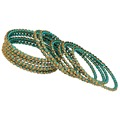 Thread Work With Gold Plating Turquoise Color Glass Stone Bangle Size: 2.10