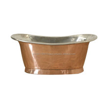 Shiny Copper Bath Tub with Matt Tin Finish Inside