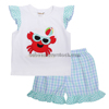 Lovely crab children girl applique clothes