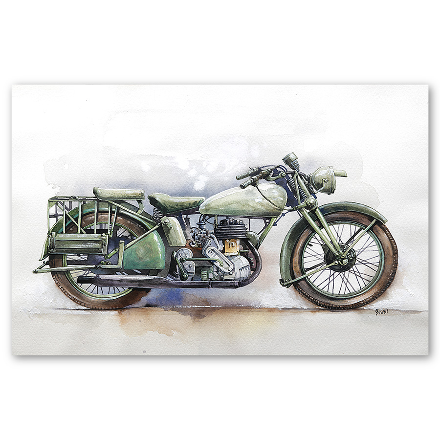 Malaysia Print High Grade Watercolor Motorcycle Printed on Photo Paper