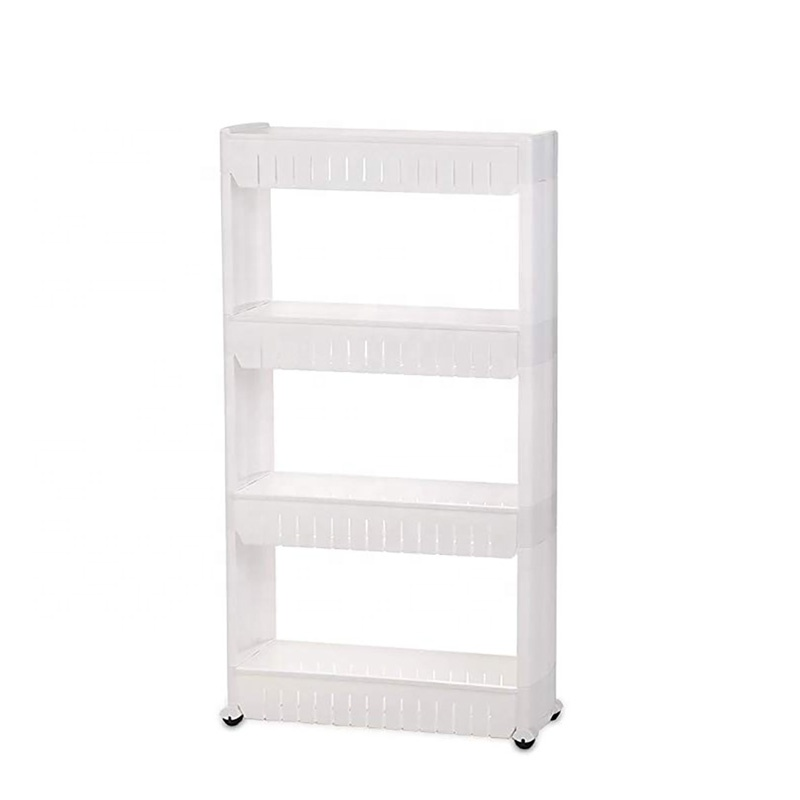 VOZVO Gap Storage Slim Slide Out Storage Tower Rack <strong>Shelf</strong> With Wheels 3 To 5 Tiers