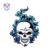 Large Emblem Iron On Patches Embroidered Blue Fire Skull Design for Jacket