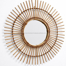 Quality round rattan decorative wall mirror