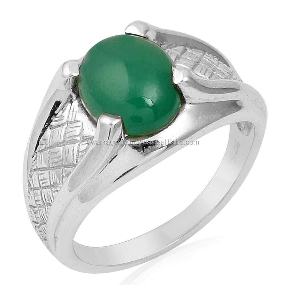 Sterling silver Green Onyx gemstone latest designer ring