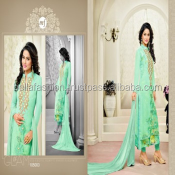 Modern Indian and Pakistani Woman Wear Beautiful Embroidery Designer Straight Suits
