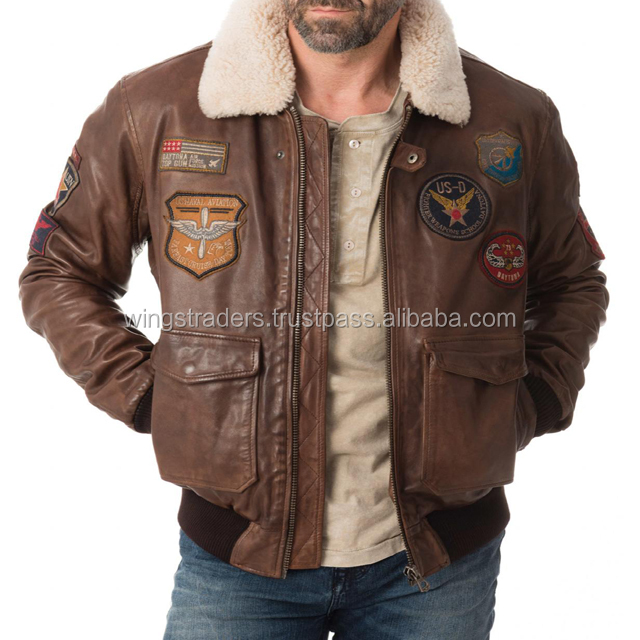 Men's Flight-Bomber Brown Leather Coats and Jackets With Real Sheep Fur Collar Made in Pakistan