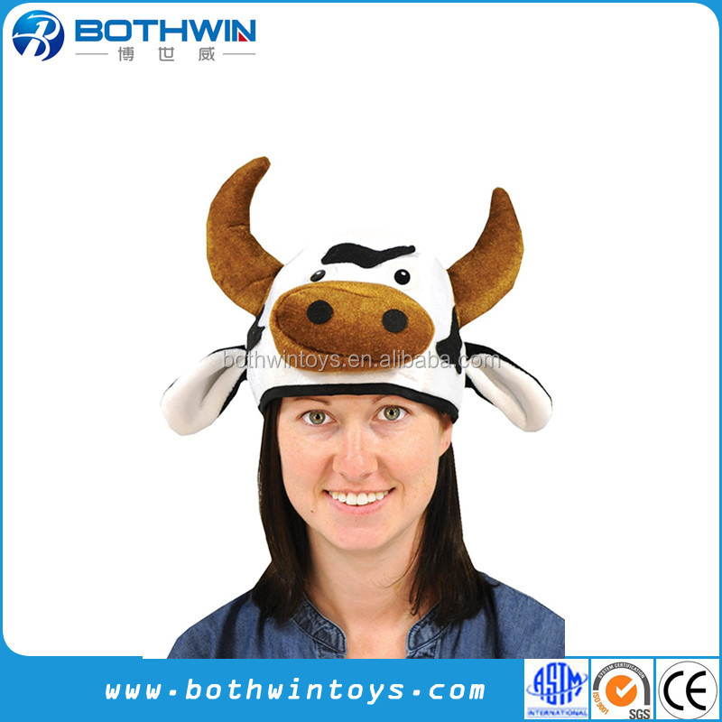 Customized Head-Hat Party Plush Cow Hats
