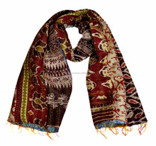 Indian Kantha Work Decorative Silk Fashionable Scarves Women' s Stole