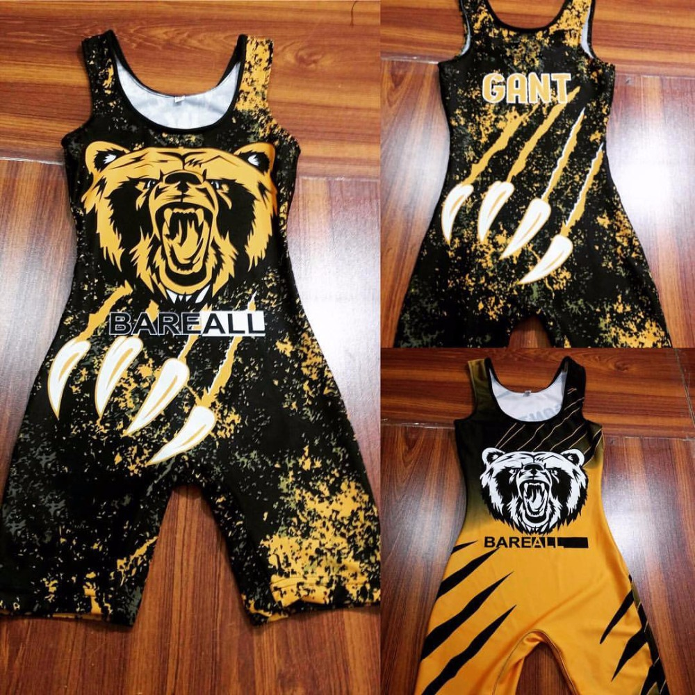 High quality polyester, spandex custom made cheap sublimated wrestling singlets