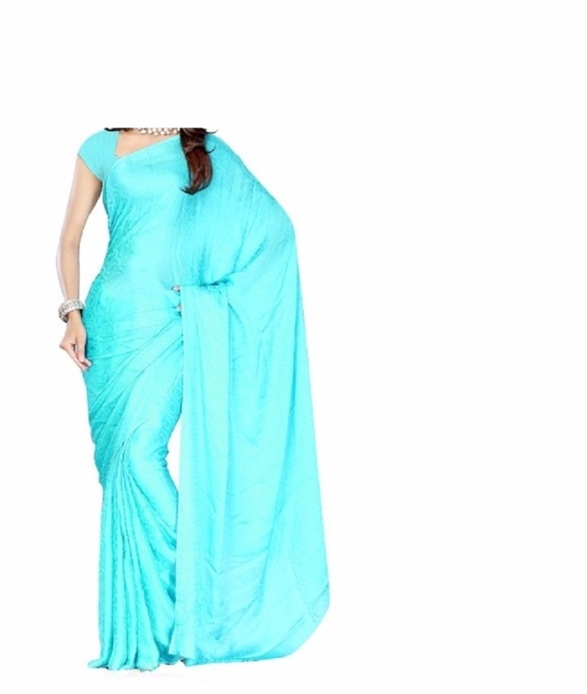 New Plain georget bollywood Party Wear Saree Sari Fabric Drape Curtain