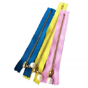 Top Quality Custom Made Metal Zippers With Pearl For Garments