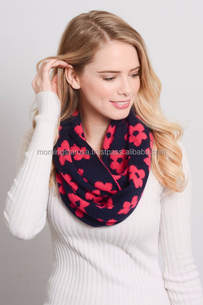 Daisy Knit Convertible Infinity Scarf Trendy Cute YS-3459