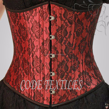 New Waist Cincher Curvy Underbust Double Steel Boned Red Brocade Corset Supplier
