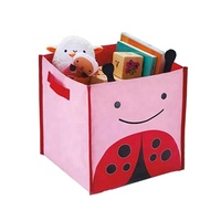 Home storage and organization box fabric cube collapsible kids toy storage bin with handles