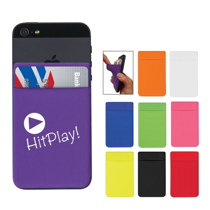 Stretch Card Sleeve - made from stretchy spandex material, adheres to the back of your phone and comes with your logo