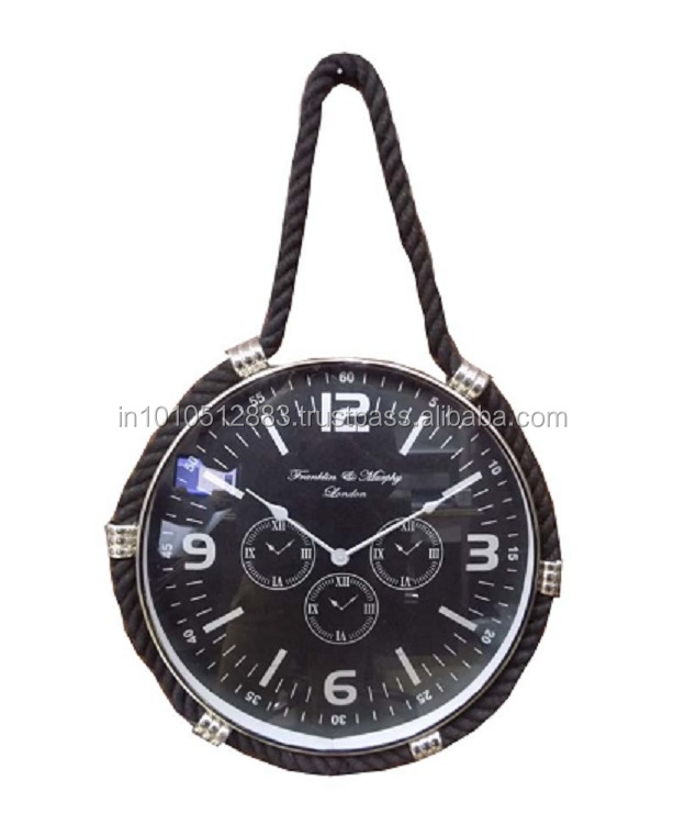 Black rope hanging 21'' inch large HQ aluminum metal wall clock with black face paper