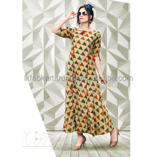 Wholesale Simple Printed Daily Wear Gown Style Rayon Kurtis