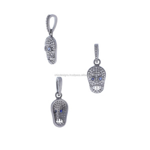 Wholesale Natural Pave Diamond Gemstone Skull Pendant 925 Sterling Silver Fashion Jewelry
