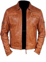 Vintage Retro Real Waxed Men's Fashion Real Sheep Leather Stylish Motor Bike Jacket All Size