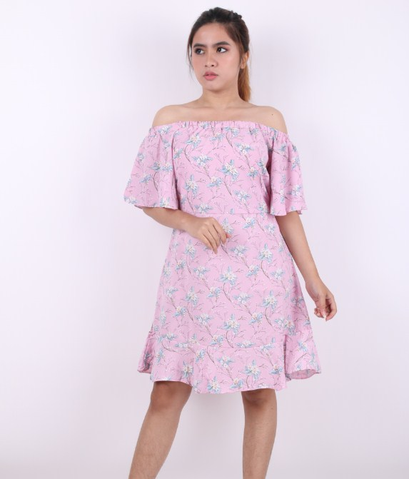 Indonesian Style Fashion Off Shoulder Flower Printed Women Dress Summer OEM Clothing