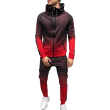 Tracksuit Men Set <strong>Sport</strong> 2 Pieces Sweatsuit Mens Clothes Printed Hooded Hoodies Jacket &amp; Pants Track Suit Men