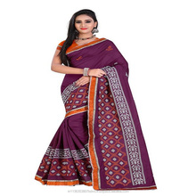 Vine Colored Designer Embroderied Chanderi Cotton Saree With Blouse
