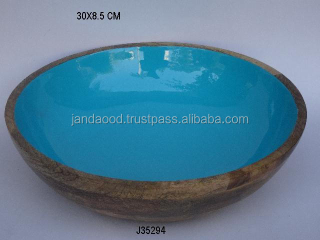 Mango wood bowl with food safe enamel in Turquoise other sizes and shapes available