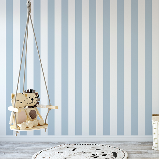 Blue white striped pattern wallpaper - high quality for boy room - wide stripe