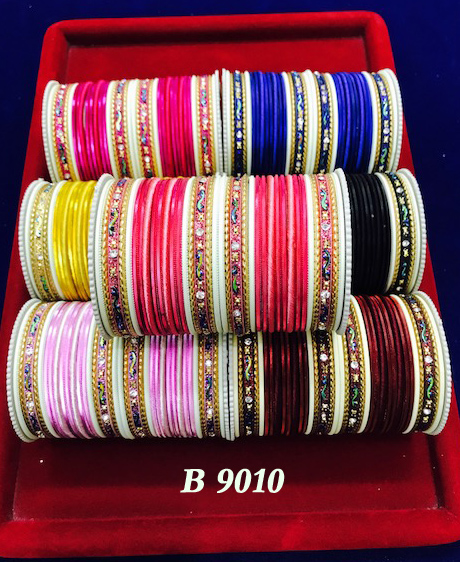 India bridal chura rhinestone bangles - indian artificial bangles in different colour