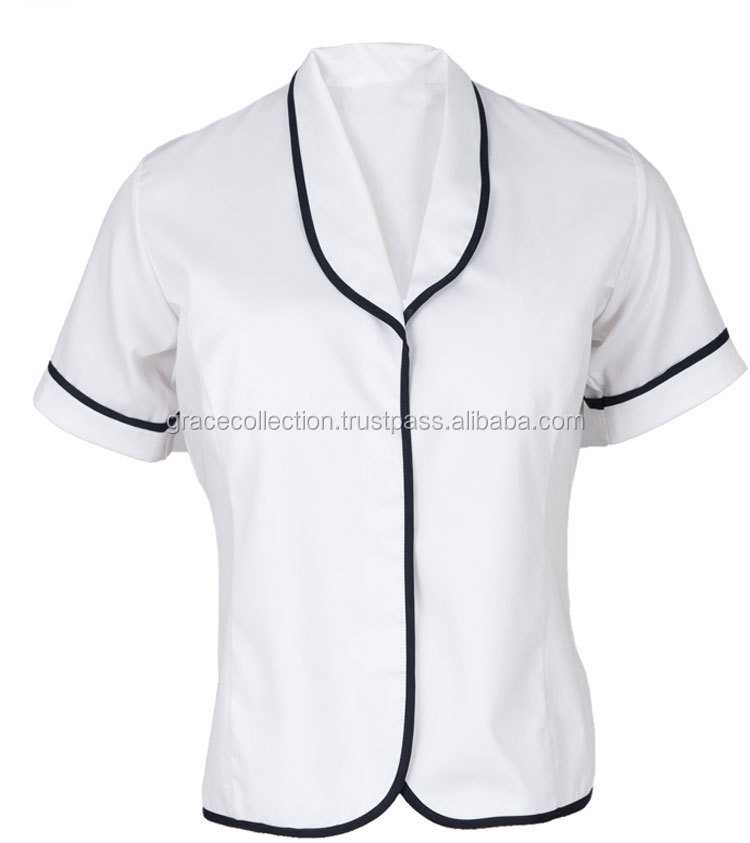 OEM High School Girls White Blouse Contrast Piping School Uniform