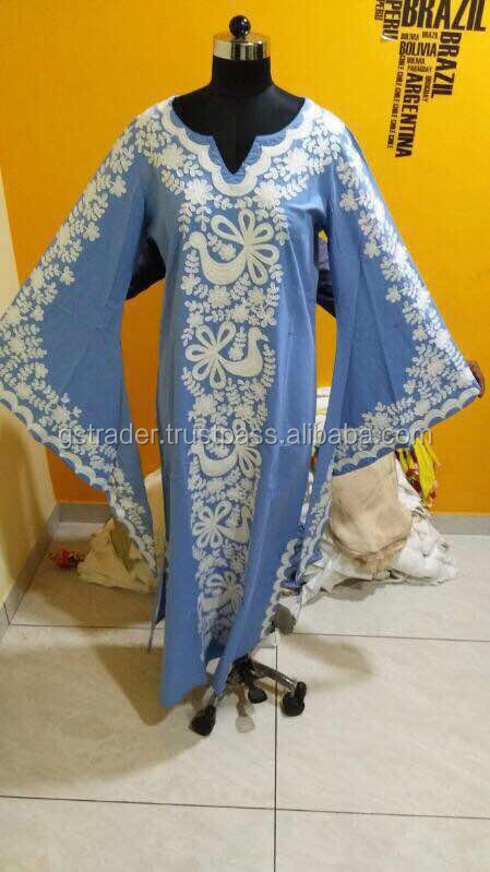 blue colour white embroidery cotton kaftan hand embroidered kaftan dress