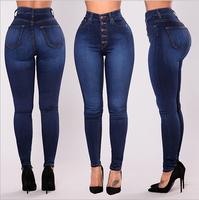 Women foreign trade 4XL Skinny stretch Jeans Ladies Slim Denim High Waist Pants Female Trousers Plus size
