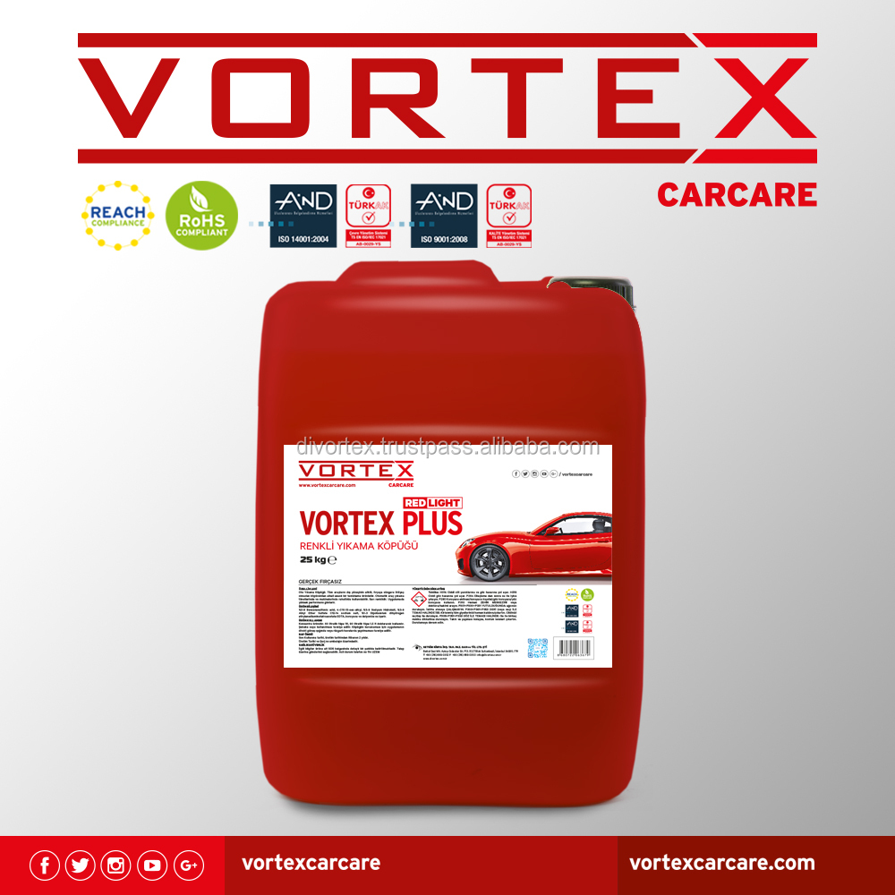 VORTEX CAR WASH SHAMPOO BRUSHLESS FOAMY RED COLORED LIQUID CAR WASH SHAMPOO 25 KG