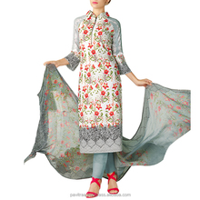 White and Grey Colored Cotton Lawn Salwar Suits