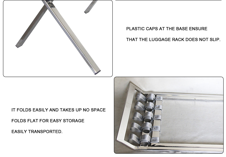 stainless steel hotel foldable luggage rack for bedroom